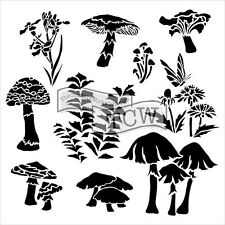 The Crafters Workshop 6 x 6 Stencil/Template - Mini Whimisical Shrooms - TCW578