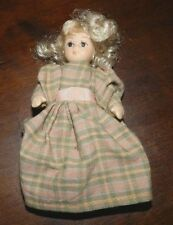 "Maine Estate Vintage 3 1/2"" Bisque Plaid Dress Doll Jointed"