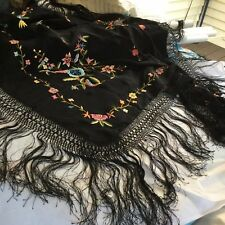 Vintage Canton Fringed Piano Cover / Shawl / With Embroidered Flowers Black Silk