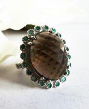 Harry Ivens Ring 925 Silber Rauchtopas, Smaragde Gr.18