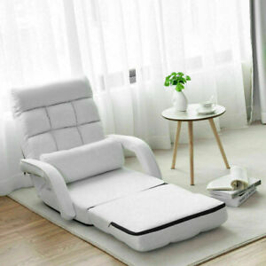 Folding Lazy Floor Chair Sofa with Armrests and Pillow-White - Color: White