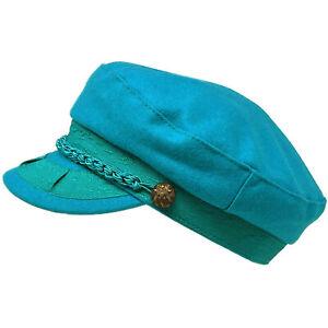 Men's Greek Fisherman Sailor Fiddler Winter Wool Driver Hat Flat Cap Teal S/M