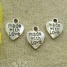 Free Ship 280 pieces tibetan silver made with love charms 12x10mm L-4732