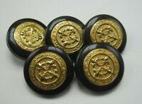 """Lot 5 Vintage Black Plastic & Brass Fleur de Lis Buttons 1"""" Diameter T5"""
