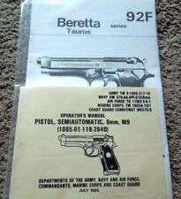 Beretta -Taurus 92F 9mm 2 Different Pistol Manuals Operation And Maintenance