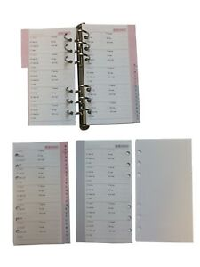 Address Index Pages Inserts for Personal Filofax A6 Size(95x170mm 32 Pages)