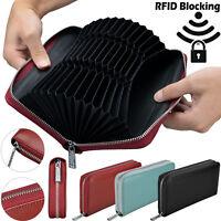RFID Blocking Genuine Leather Large Capacity Credit Card Holder Lady Wallet Case