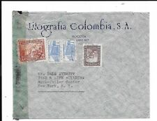 COLUMBIA 1945 COMMERCIAL AIRMAIL TO USA CENSORED EXMANINED BY TAPE. ROUGHLY OPEN