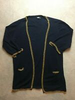 asos size 18 navy blue knitted waterfall gold chain cardigan