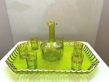 Superb ensemble 6 ancien petit verre liqueur, carafe et plateau en ouraline