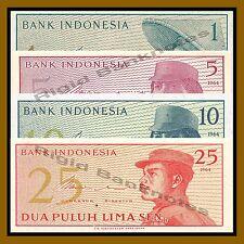 Indonesia 1 5 10 25 Sen (4 Pcs Set), 1964 P-90/91/92/93 Unc