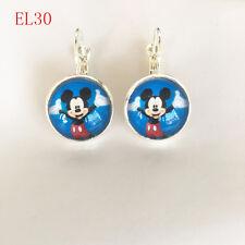 Handmade Disney mickey mouse Cabochon glass silver Dangle Earrings EQ30 .