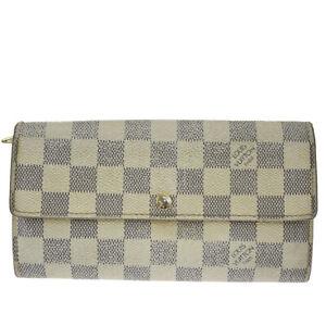 Auth LOUIS VUITTON Sarah Long Bifold Wallet Damier Azur Leather N61735 07MI238