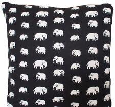"Black White Cushion Cover Elephants Fabric Josef Frank Printed Linen Textile 16"""