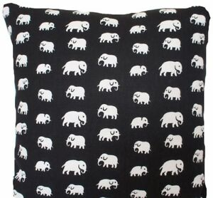 "Black Cushion Cover White Elephants Fabric Printed Linen Textile 16"" Square"