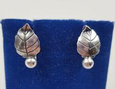 """Sterling Silver Mid Century Modern Leaf Earrings ~ Screw Back Non Pierced 3/4"""""""