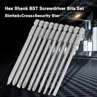 """10Pcs 100mm 1/4"""" Hex Shank Magnetic BST Screwdriver Bits Set"""