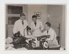 Three Young Man Engineers One with Slide Rule in Office Vintage Real Photo