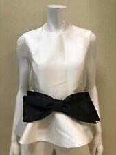 ALBERTO MAKALI NWT  White Sleeveless Peplum Small Top Blouse with Black Bow NEW
