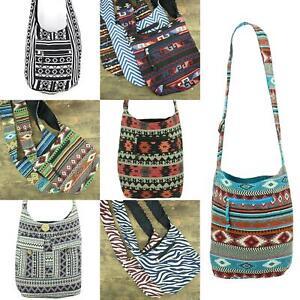 Cotton Canvas Sling Shoulder Bag Messenger Crossbody Backpack Handbag Aztec