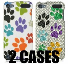 2 x CASES (1 Hard + 1 Diamond Bling) DOG PUPPY PAWS COVER for iPod Touch 5 & 6