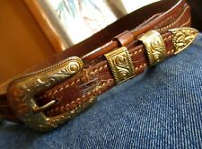 32 SMALL True Vtg 70s Leather GOLDTONE BUCKLE  RELIC RANGER Cowboy Western Belt