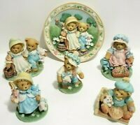 Cherished Teddies 1993 Nursery Rhymes Collection Lot of 5 Figurines 1 Plate RARE