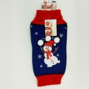 Puppy Dog Blue Christmas Winter Sweater Small Snowman Fold Down Collar