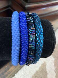 NEW 4 SET Nepal Rolls Glass Beaded bracelet crochet handmade bead bangle USA