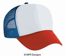 White Red Blue 3 tone Trucker Hat mesh hat snap back hat blank headwear
