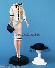 Classic Contemporary Ensemble Fashion for Barbie Doll Wide Brim Hat Cream Suit