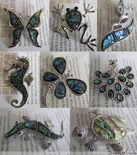 Lots Fashion 7Pcs Mixed Styles Abalone Shell Crystal Rhinestone Metal Brooches