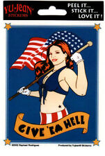 GIVE 'EM HELL ALL WEATHER DECAL BUMPER STICKER 70's americana van muscle car