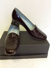 VAN DAL DARK BROWN JEAN CROC PATENT LEATHER COURT HEELS SIZE 4.5 D /37.5