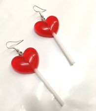 Red Heart Lollypop Earrings Lolita 60's Fancy Dress Kitsch Pop Art Novelty Fun