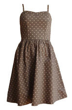 H&M SUN DRESS VINTAGE TAUPE PINK SPOTS DOTS BANDEAU STRAPS STRAPLESS 10 38 6 S M