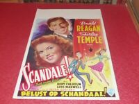 Cinema Plakat Original Belgisches - Scandale! Ronald Reagan Shirley Temple 1947