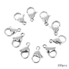 100pcs 12mm Stainless Steel Lobster Clasps Hooks DIY Jewelry Making Handicrafts