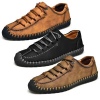 Menico Men Leather Shoes Lace up Oxfords Hand Stitching Casual Comfort Moccasins