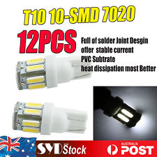 12 x T10 LED White 10-SMD 7020 194 W5W Bulb Replacement Signal Tail Side Lights