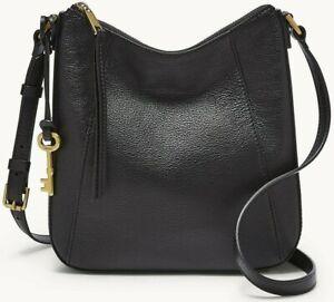 Fossil Talia Crossbody Shoulder Bag Black Leather SHB2793001 $178 Retail FS