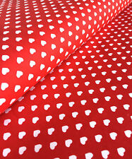 SMALL HEARTS 100% Cotton Poplin Fabric Material Heart Print 140cm wide Red White