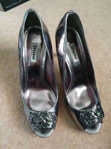 Ladies Dune Pewter Heeled Peep Toe Shoes Dolley  Size 7