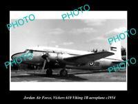 OLD POSTCARD SIZE PHOTO OF JORDAN AIR FORCE VICKERS VIKING PLANE 1954
