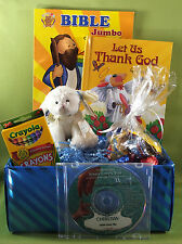 Personalized Jesus Loves You Christian Gift Basket for children w/ book & CD