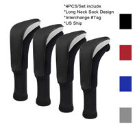 Long Neck Headcover 4pcs/set Golf Hybrid Club Head Cover W/ Interchangeable #Tag