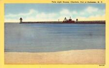 CHARLOTTE, NY New York  TWIN LIGHT HOUSES~Port of Rochester  c1940's Postcard