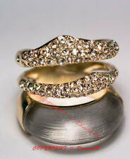 Alexis Bittar Lucite Crystal Encrusted Orbital Ring Size 7 Gold Tone/Grey