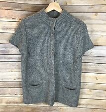 Eileen Fisher Grey Wool Alpaca Button Down Mock Neck Cardigan Sweater Size L