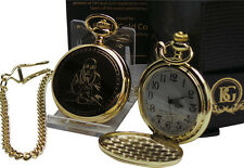 BUDDHA Gold Pocket Watch Luxury Gift Case Boxed 24k Plated MEDIATION HEAL